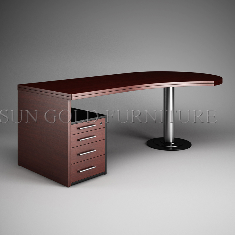 China Round Office Desk, Brown Office Table, Melamined Executive