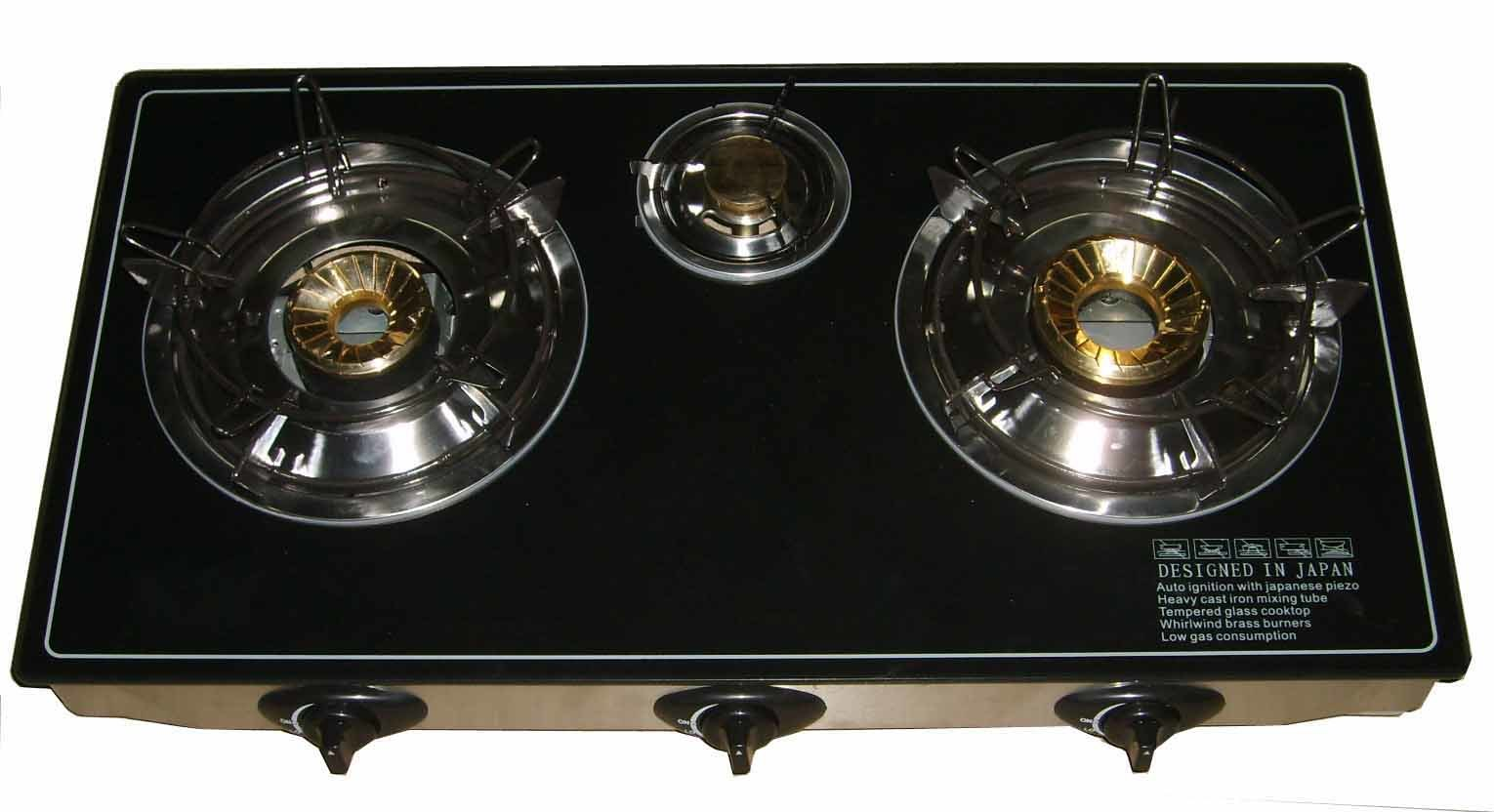 Cooktop Gas Stoves China 3b Glass Cooktop Brass Burner Toughened Glass