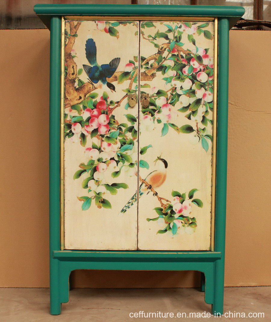 China Antique Hand Painted Furniture Flower And Bird Beauty Wardrobe China Wardrobe Living Room Wardrobe