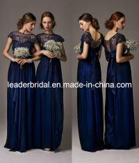 China New Bridesmaid Dresses Navy Blue Lace Chiffon Empire ...