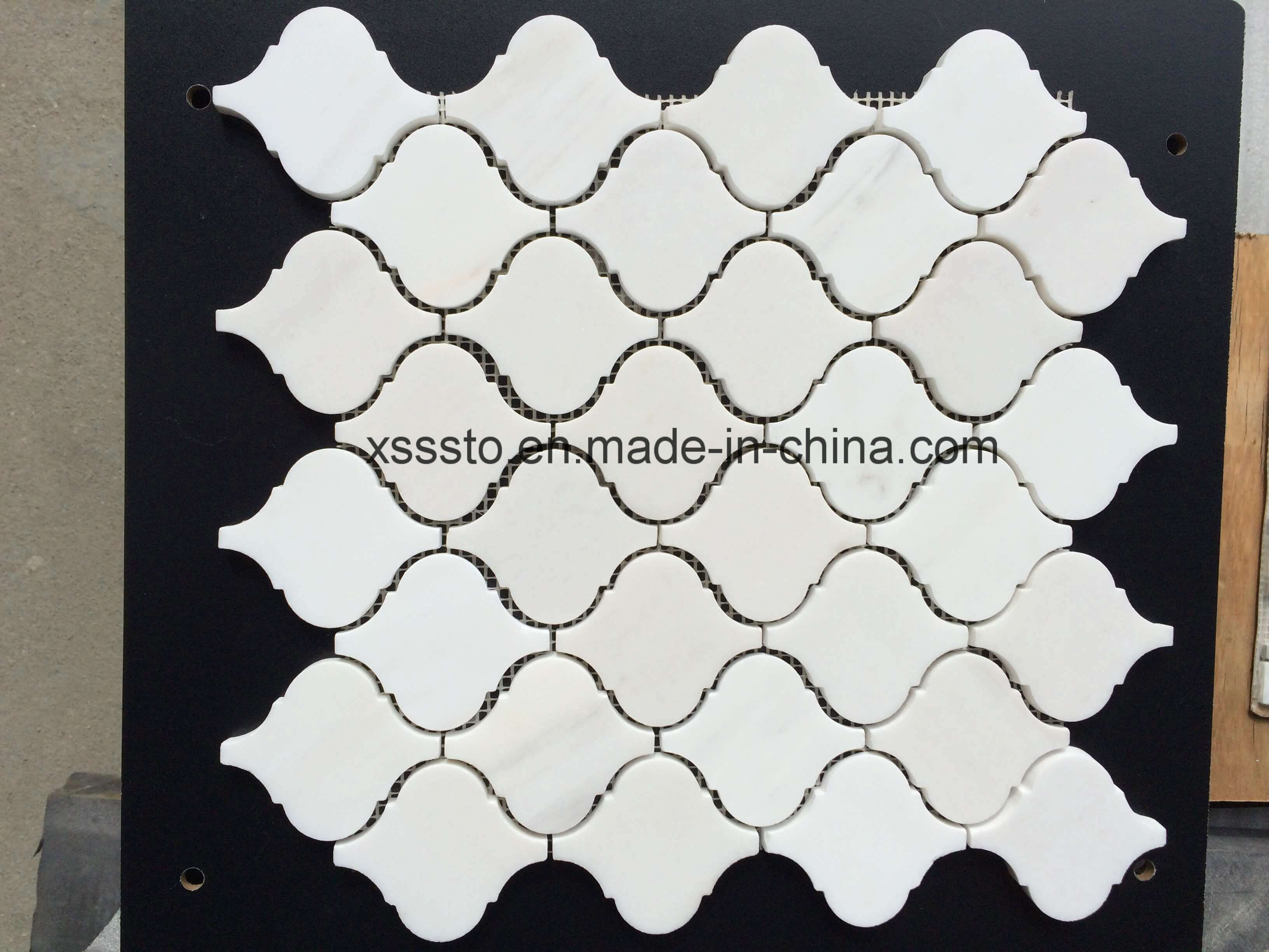Arabesque Marble Tile Polished Arabesque Lantern Carrara White Marble Mosaic Tile For Interior