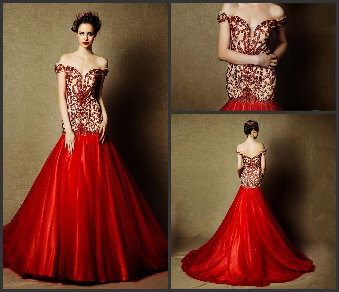China Beaded Red Bridal Dress Cap Sleeves Wedding Gowns L28 wedding dresses with red Beaded Red Bridal Dress Cap Sleeves Wedding Gowns L28