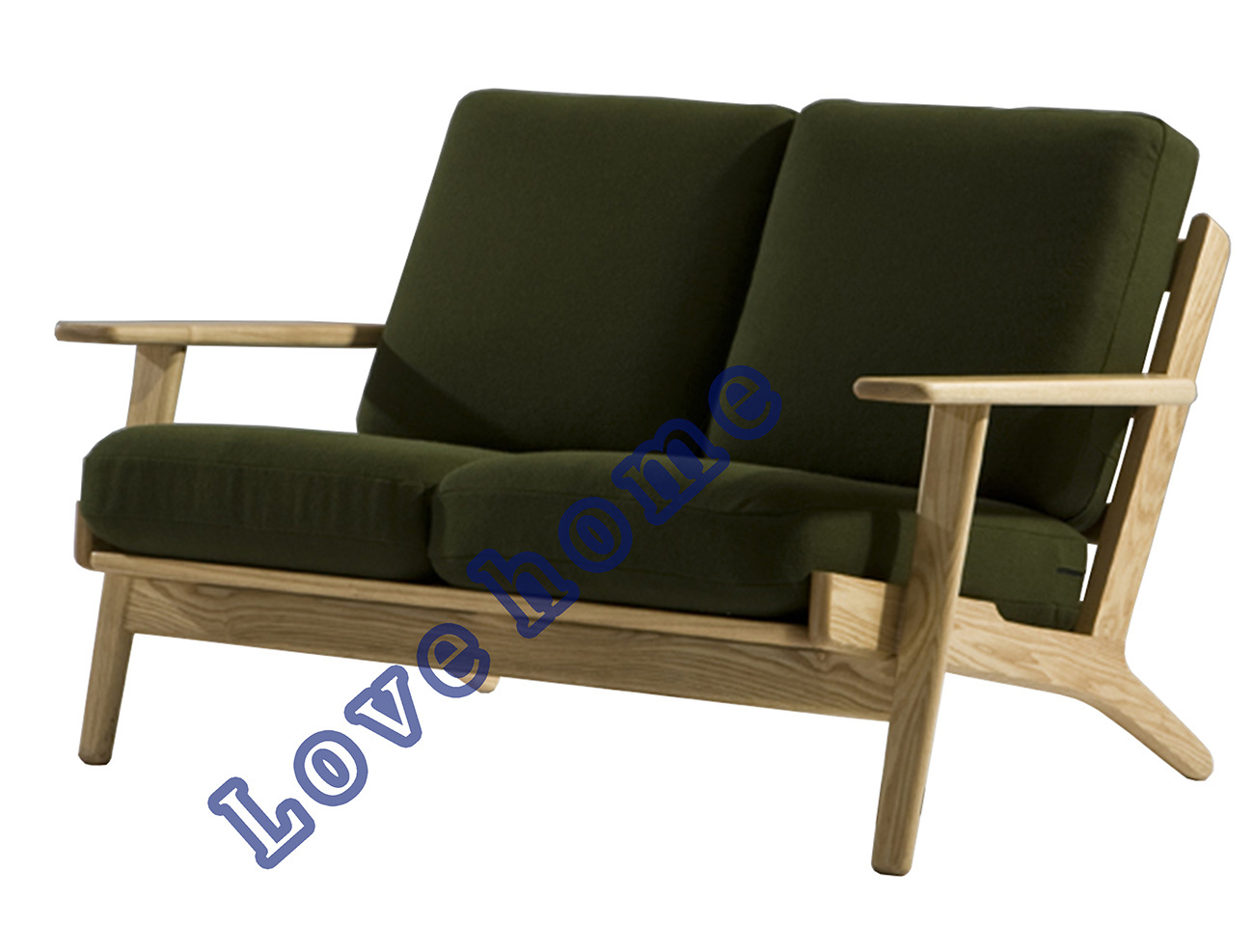 Hans Wegner Sofa Replica Hot Item Modern Coffee Leisure Hans Wegner Plank Wooden Two Seater Sofa