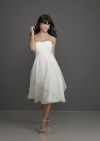 China White Chiffon Tea Length Bridesmaid Dress (morilee ...