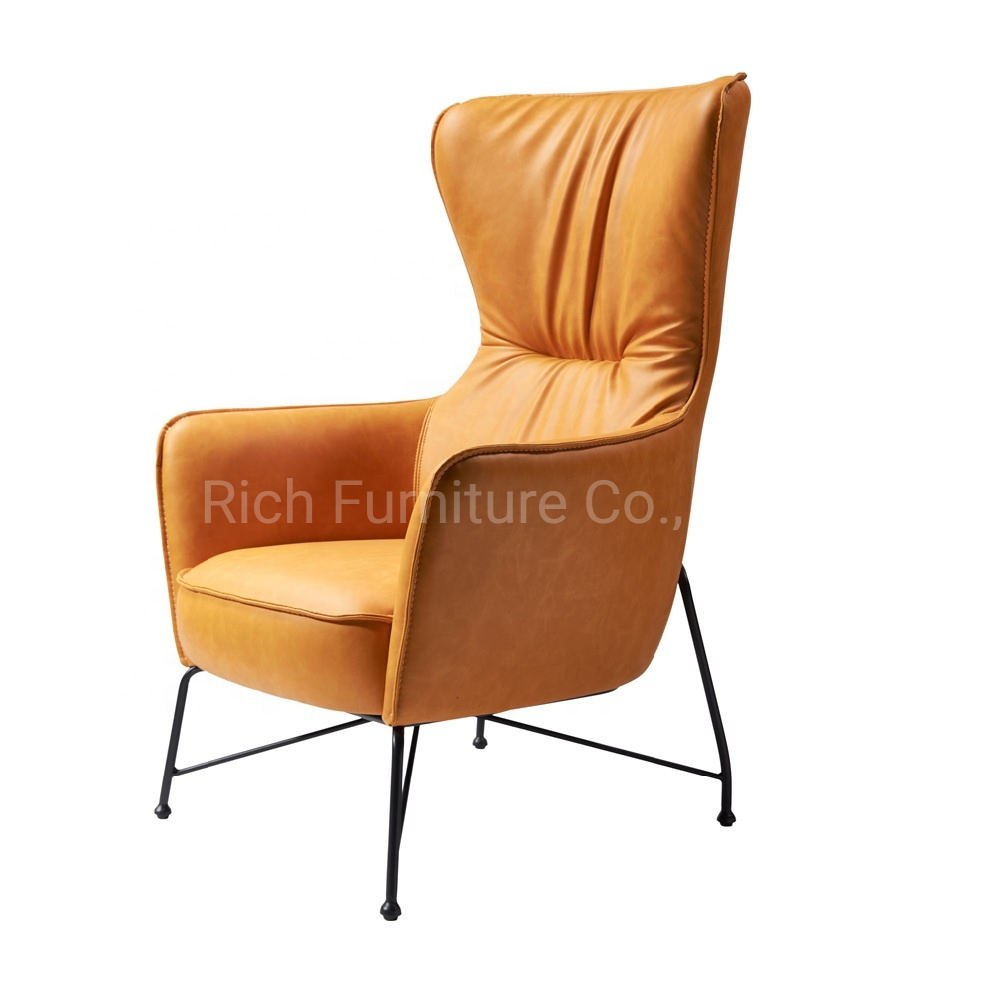 China Mid Century Modern Yellow Leather High Back Armchair Retro Leisure Accent Chair With Metal Legs China Modern Armchair Leisure Chair