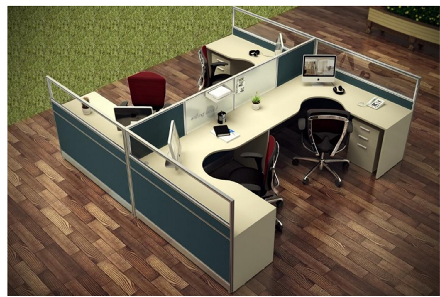 Workstation Furniture Hot Item Modern Office Glass Partition Cubicle Workstation Furniture