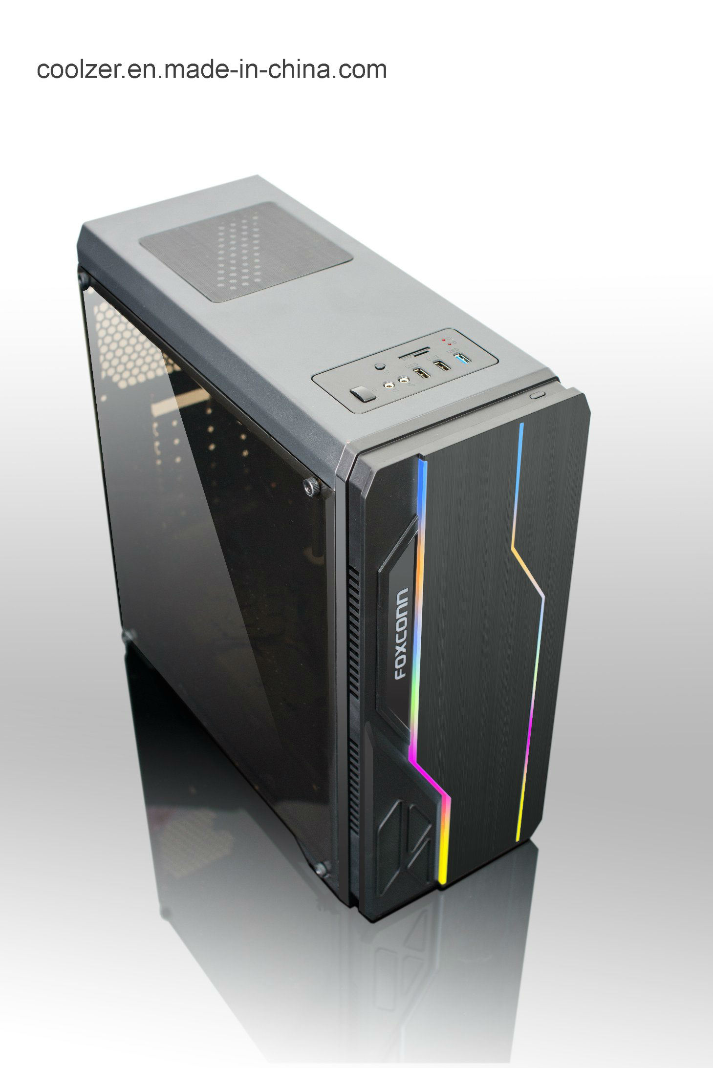 Case Pc Hot Item High Quality Atx Gaming Computer Case Pc Case With Glass 2 Rgb Strips