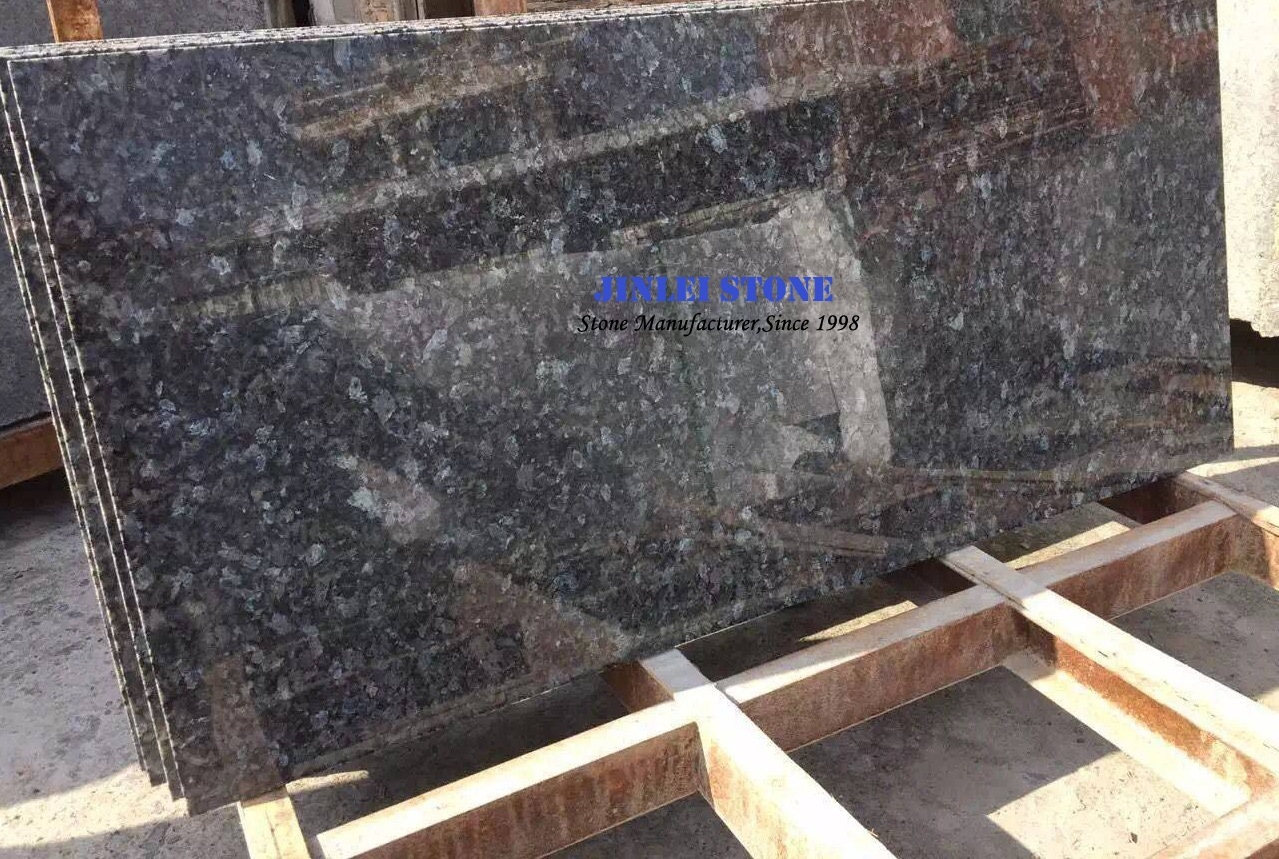 China Solid Surface Granite Blue Pearl Natural Stone Granite Countertop With Sraight Nose Bullnose Ease Edge China Countertop Granite Counter Top