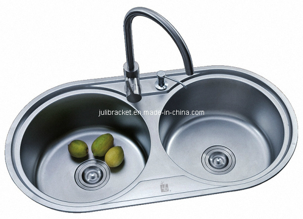 China Round Double Bowl Stainless Steel Kitchen Sink