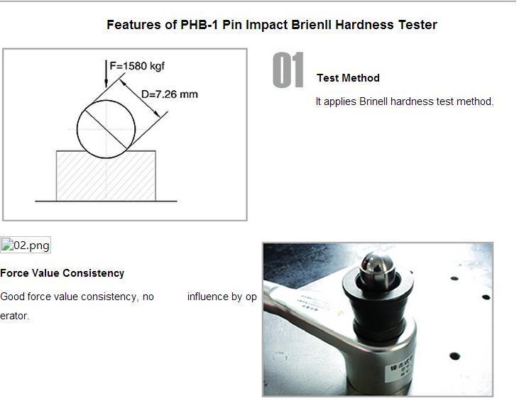 China Portable Shear Pin Hammer Impact Brinell Hardness Tester (PHB