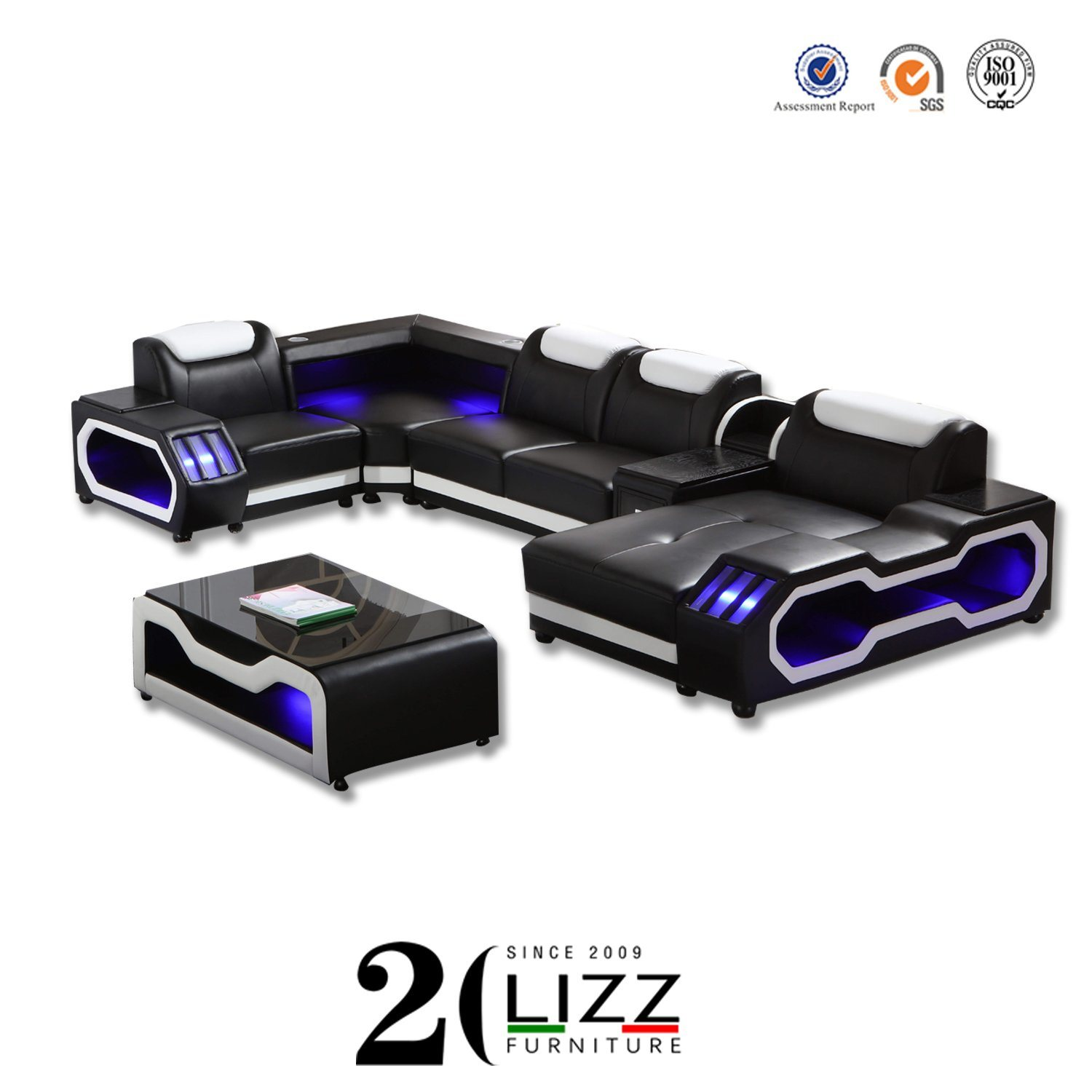 China Fair Discount New Home Furniture Living Room Leisure Sectional Wooden Led Sofa China Furniture Leather Sofa