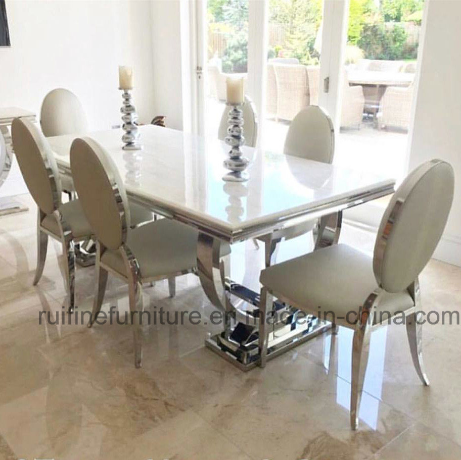 Modern Dining Table Chairs Hot Item Modern Dining Room Contemporary Home Furniture Elegant Metal Chrome Stainless Steel Marble Table Chair Banquet Restaurant Wedding Events