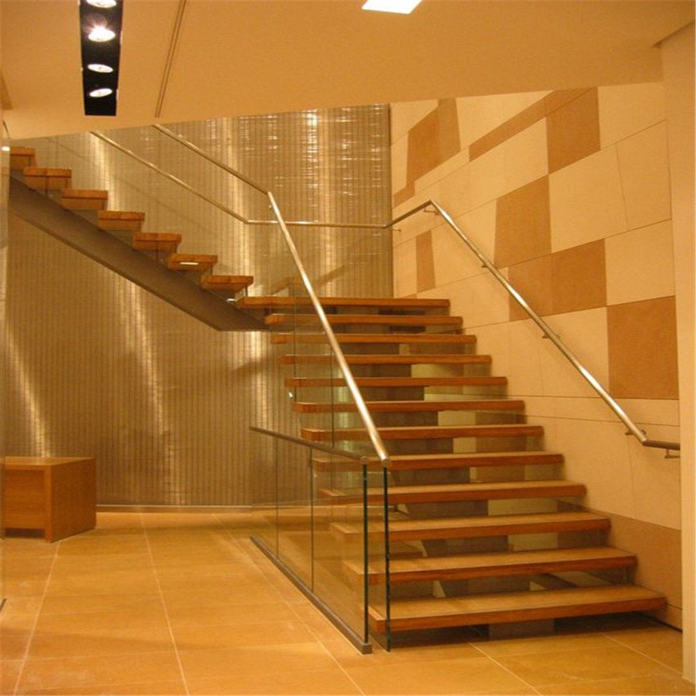 Open Staircase Design Hot Item Modern Design Steel Beam Open Riser Staircase With Solid Wood Stairs Tread
