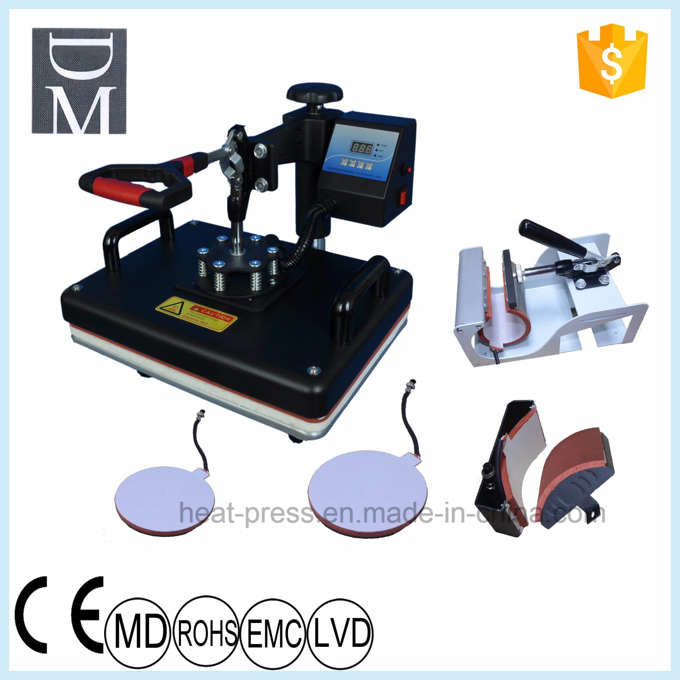 Sublimation Press Hot Item 5in1 Combo Heat Press Machines For Sale Fabrication Heat Transfer Printing Process T Shirt Sublimation Pressing