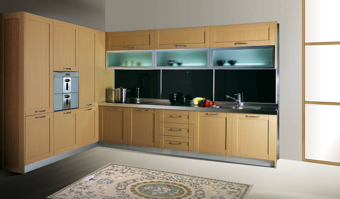 0-5mm-PVC-Membrane-MDF-Kitchen-Cabinet-with-Frost-Glass-Wall - k che mit bartheke