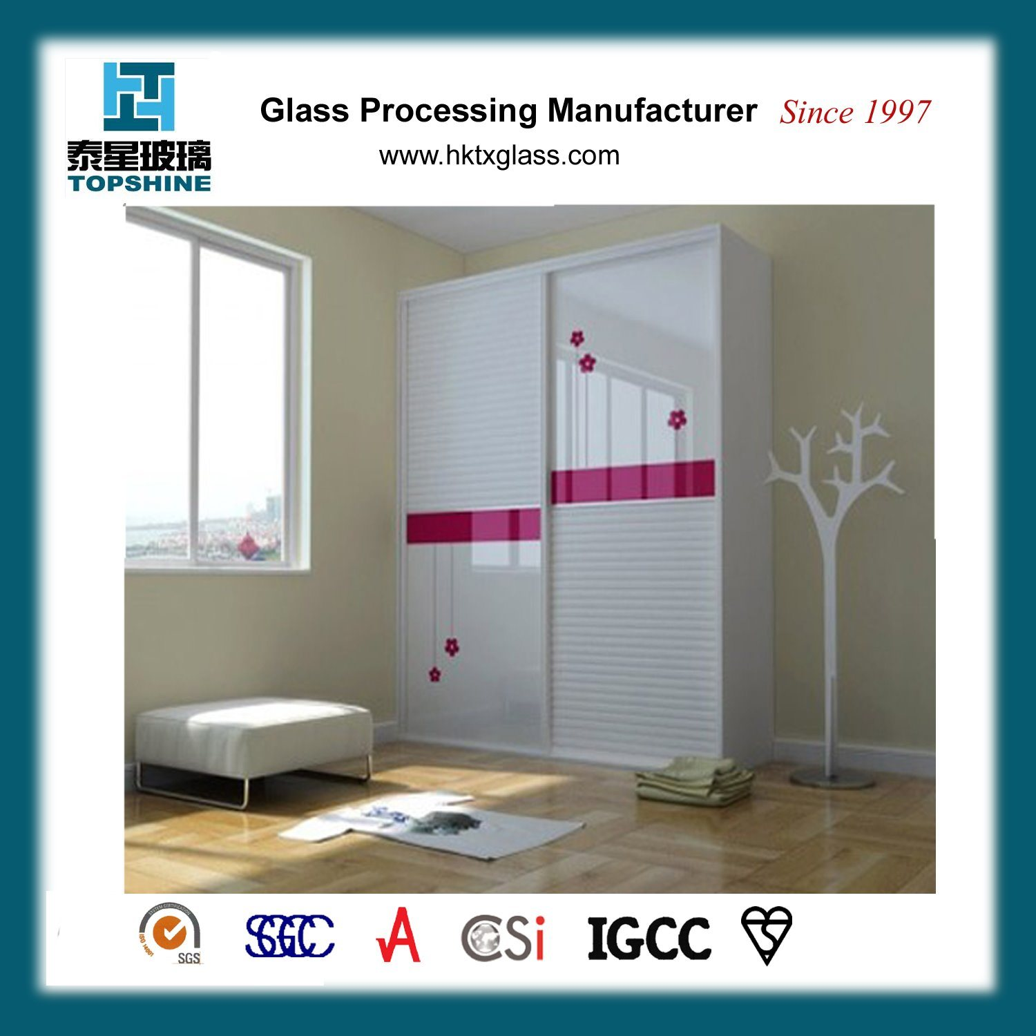China Customized Design Silk Screen Printing Glass Wardrobe Door For Bedroom Furniture China Glass Wardrobe Door Wardrobe Door