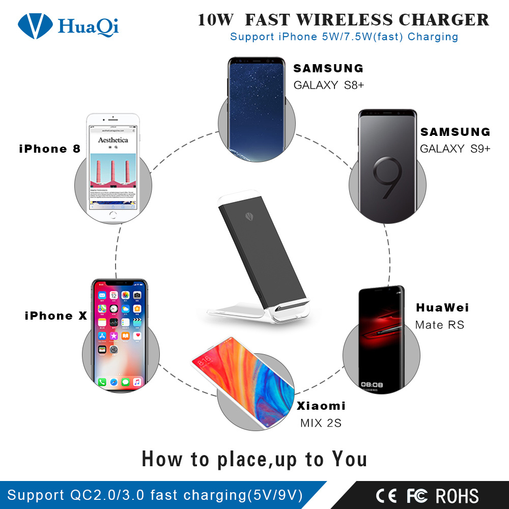 Handy Qi China Handy 10w Stand Qi Fast Wireless Mobile Charger For Iphone