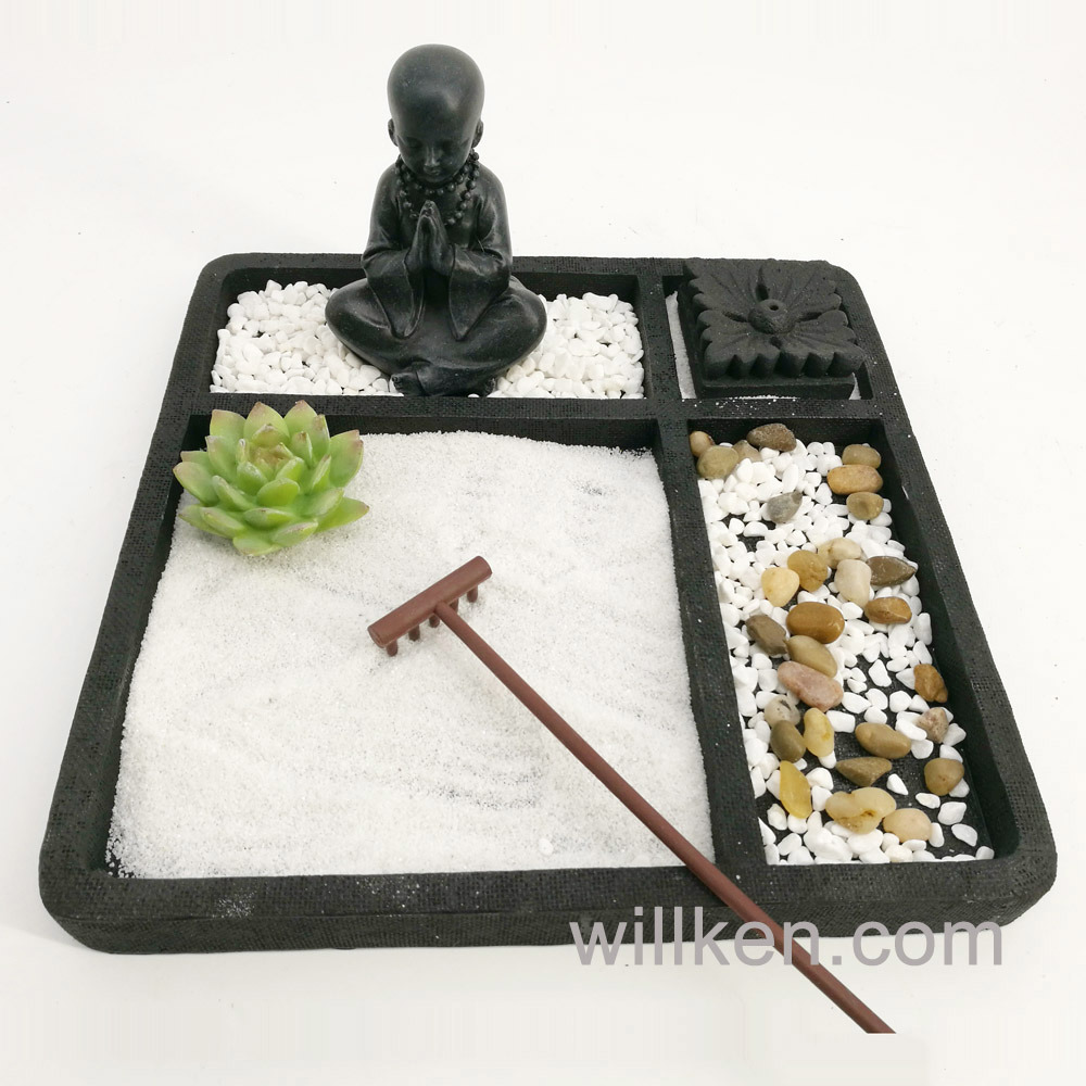 Table Top Zen Garden Hot Item Tabletop Buddha Square Zen Garden Home Decoration Gift
