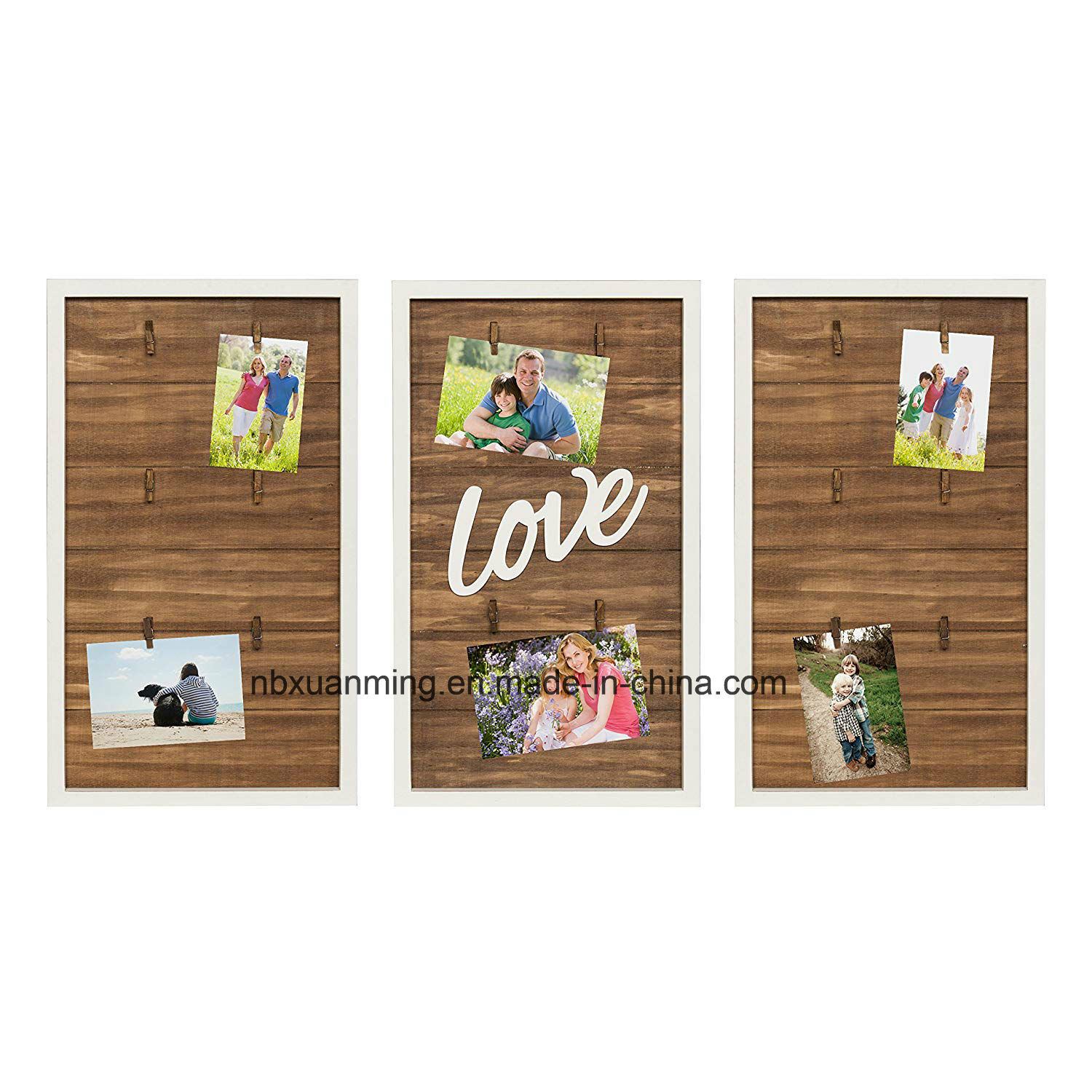 Wall Decor Wooden Hot Item Love Wood 3 Piece Clip Photo Collage Photo Frame Picture Frame Wall Decor Home Decoration Wooden Wall Plaque