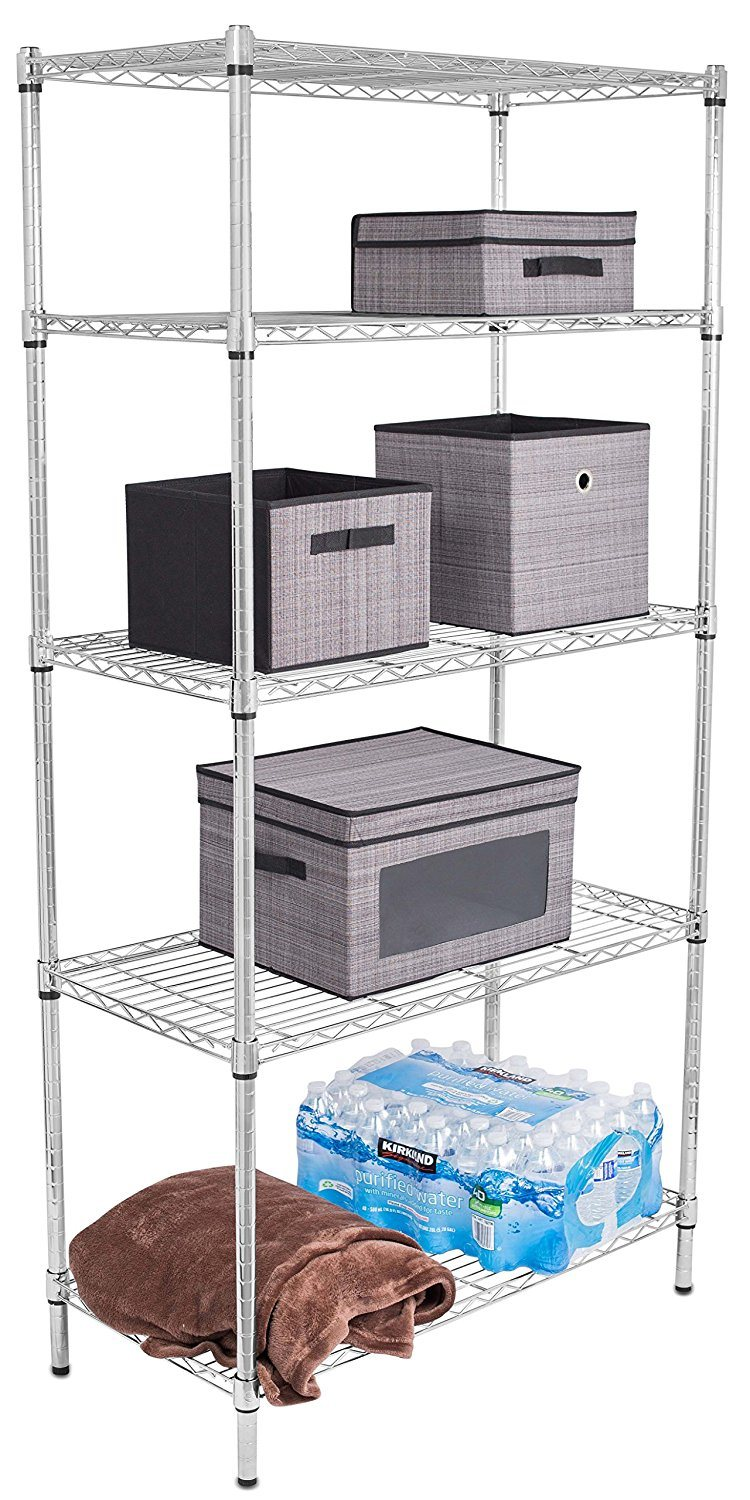 Mesh Shelving Hot Item Adjustable 5 Tiers Chrome Or Stainless Steel Storage Wire Mesh Shelving
