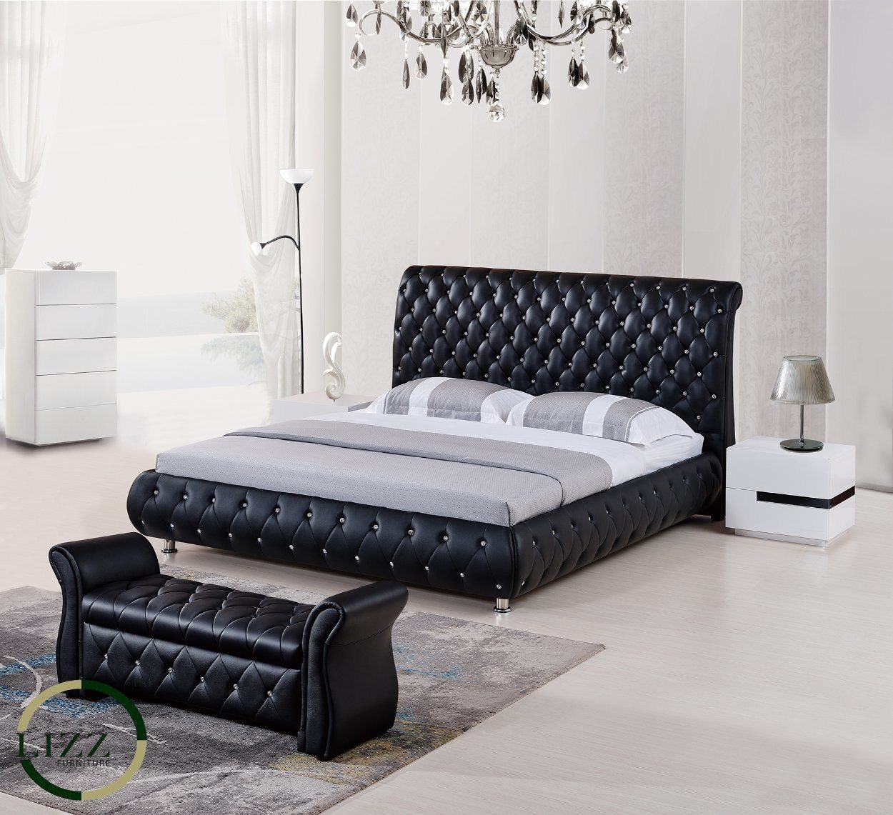 Leather Bed Hot Item French Type Tufted Back King Size Leather Bed