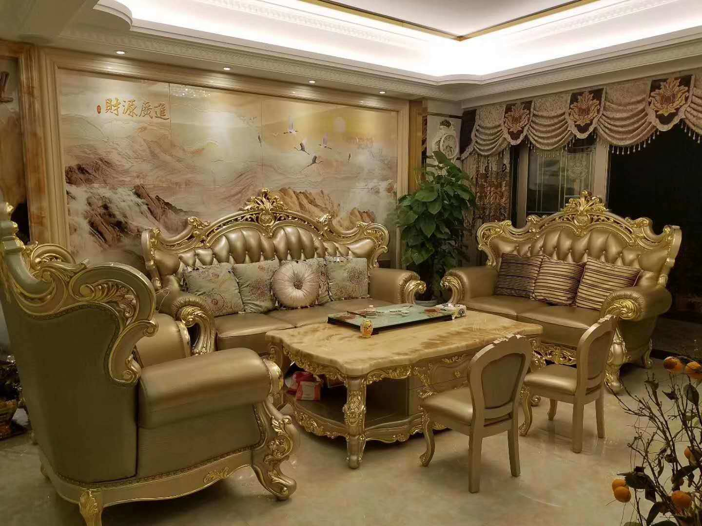 Sofa Sets In Living Room Hot Item Golden Color Luxury Royal Furniture Sets Living Room Leather Sofa 028