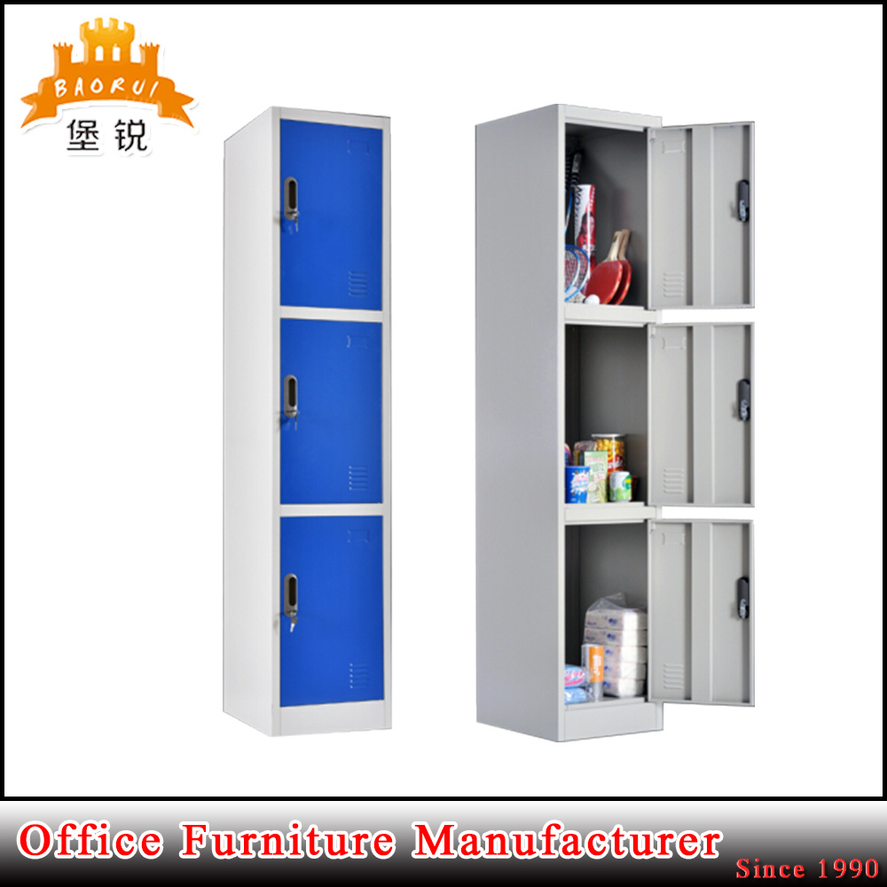 Clothes Storage Hot Item 3 Tier Layer Colorful Hotel Steel Clothes Storage Locker Wardrobe With Key Lock