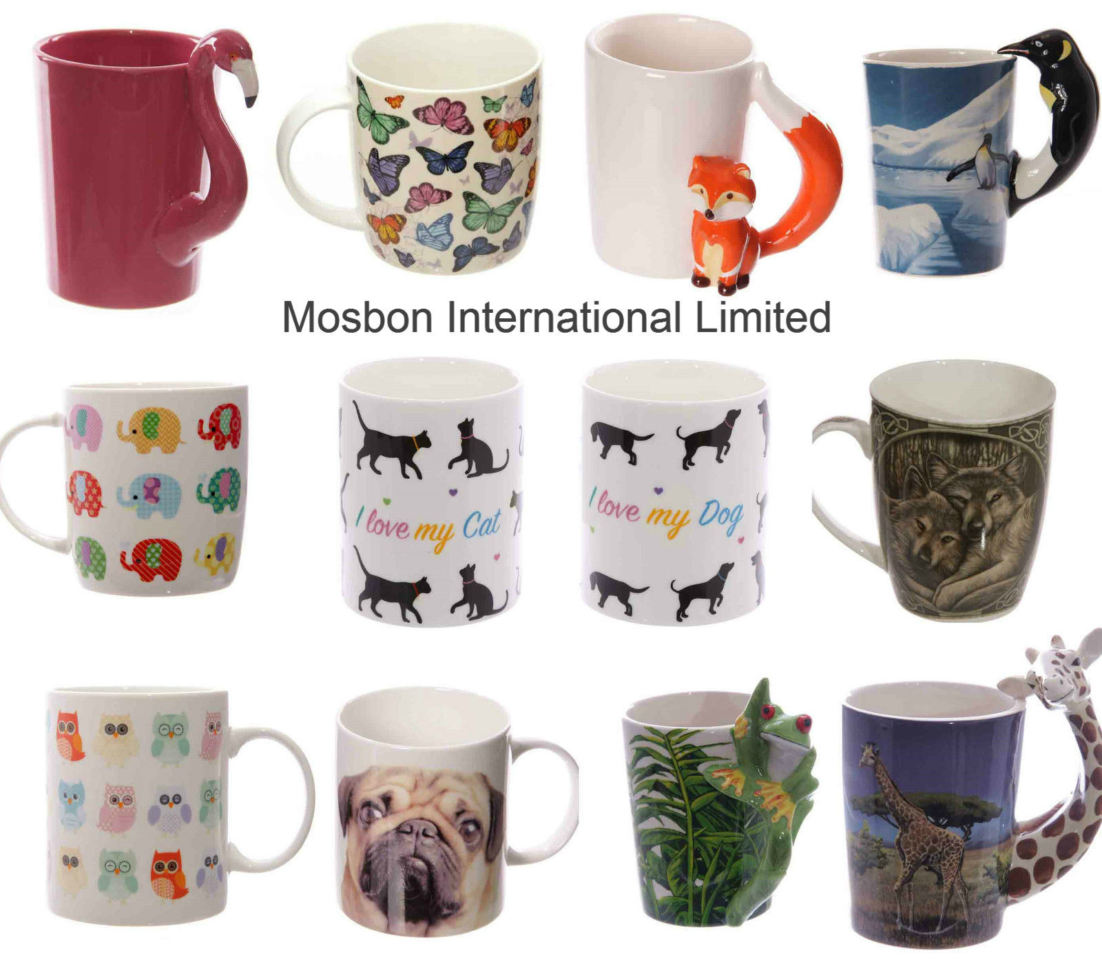 Animal Coffee Cups China Ceramic Novelty Decorative Animal Coffee Mugs Gift For