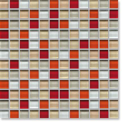 China Red Mosaic Tile Glass Square Mosaic Photos