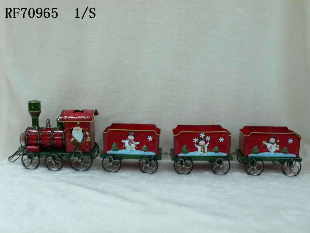 Manufacturing Carton Box Supplier China Christmas Ornament Metal Train As Candy Bank
