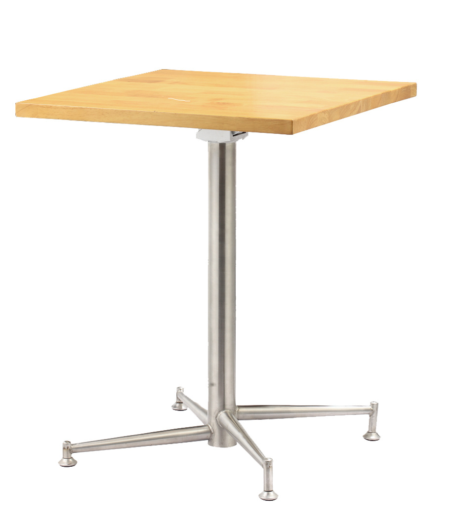 Stainless Restaurant Table Hot Item Solid Wooden Top Stainless Steel Folding Dining Restaurant Table