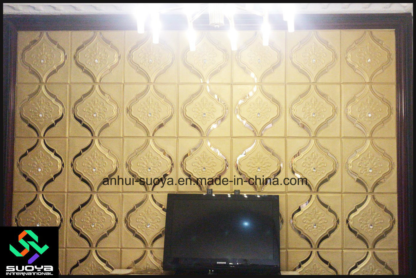 Tv Board Beige Hot Item Luxury 3d Leather Wall Panel 400 400mm For Tv Board Decor