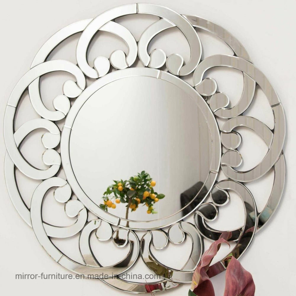 Decorative Mirror Hot Item Patented Round Frameless Flower Shape Home Hotel Wall Decorative Mirror