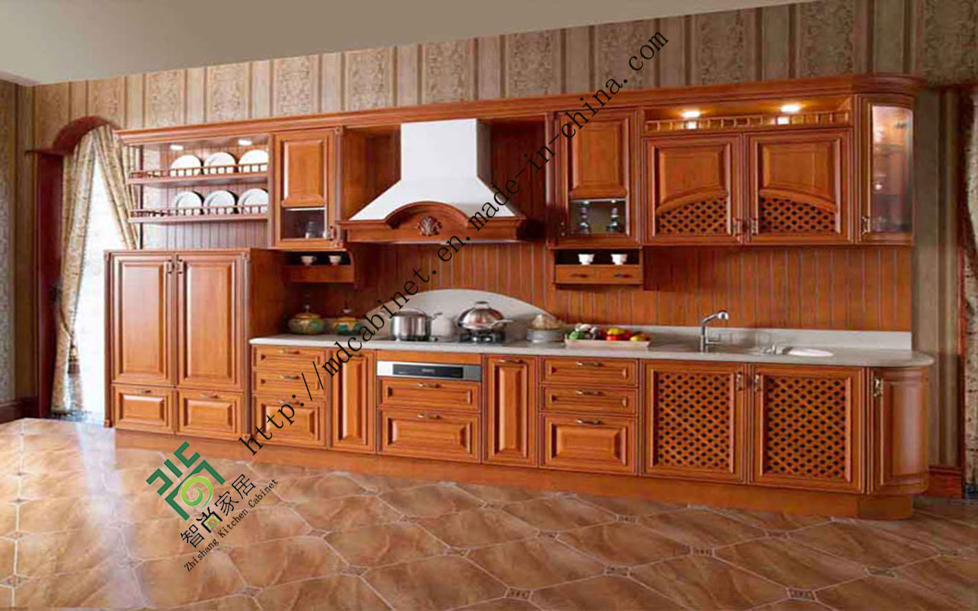Kitchen Cabinets Solid Wood Construction China Classic Solid Wood Kitchen Cabinet Design Zs 291