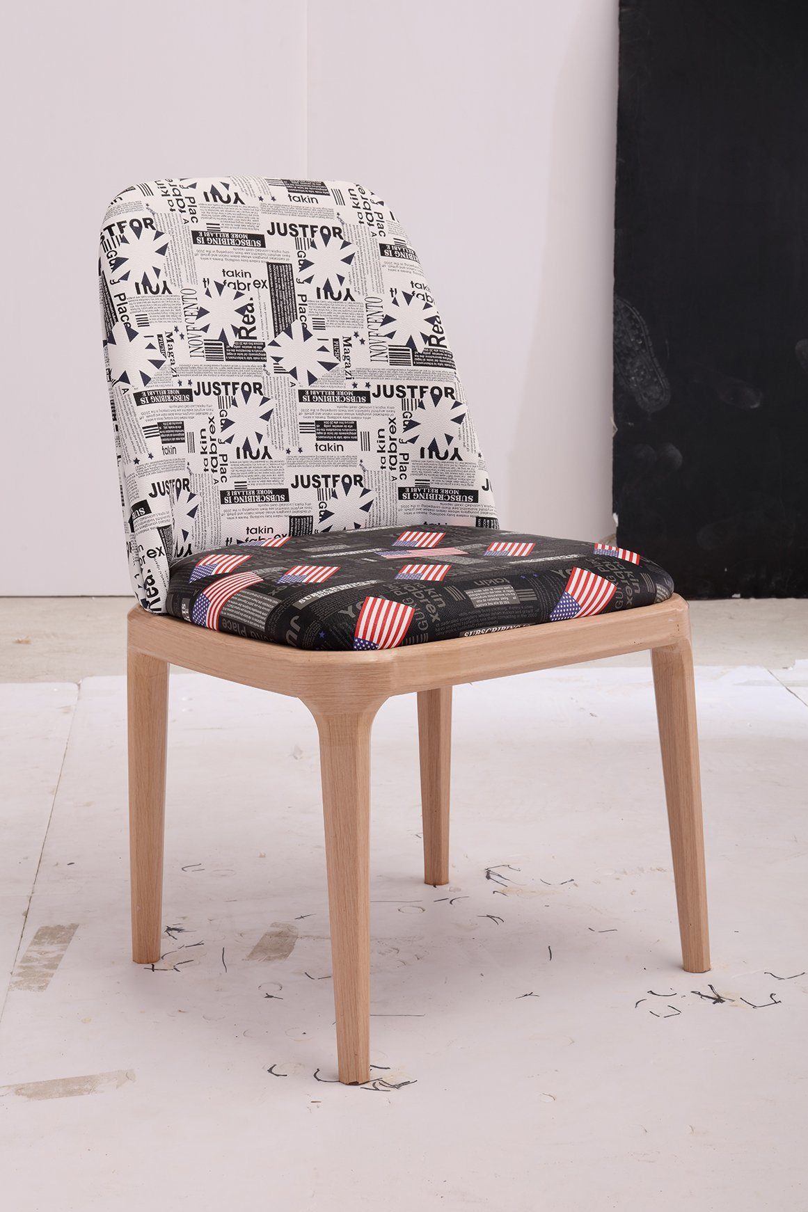 French style newspaper pattern printed fabric dining chairs modern living room chair direct sale