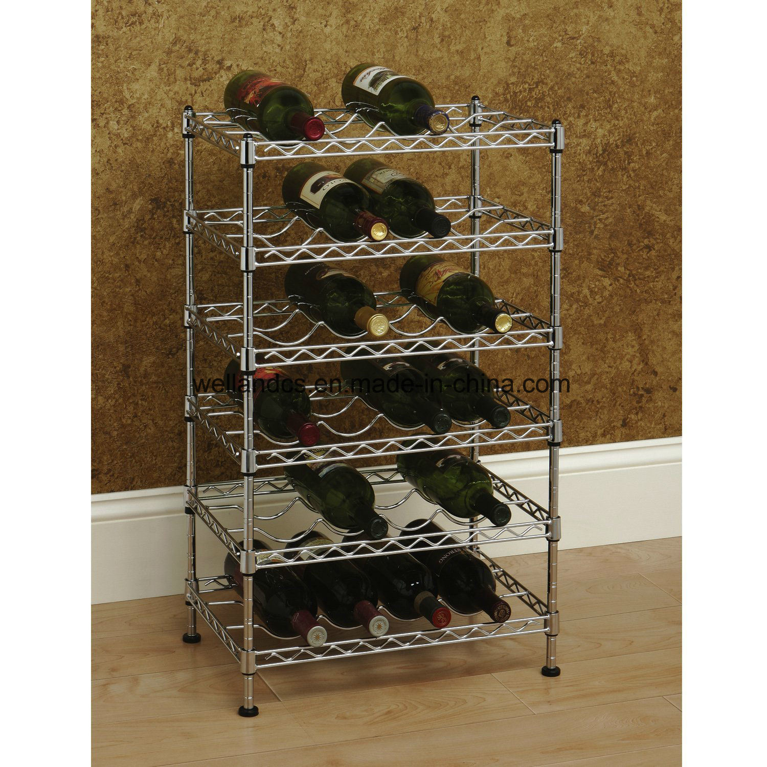 Wine Holder Stand Hot Item Multi Level Adjustable Chrome Metal Wine Rack Bottle Stand Holder