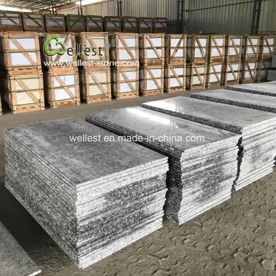 China Factory Wholesaling White Grey Granite Countertops With Bullnose Edge China Granite Tile Granite Countertops