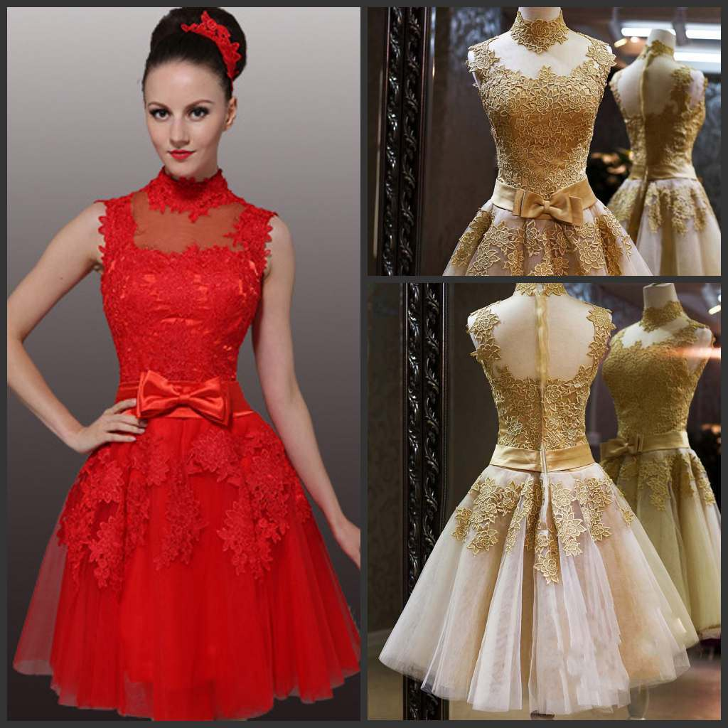 red dress for wedding Latest Design Halter Short Red a Line Knee Length Dress for Wedding Party