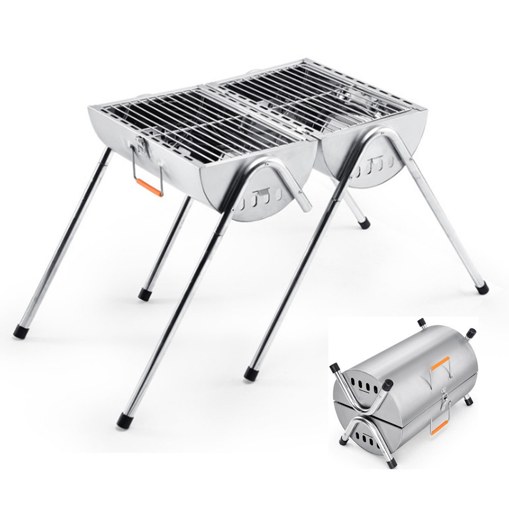 Grill Camping Hot Item 2017 Factory New Design Two Burner Charcoal Bbq Barbecue Grills For Camping Outdoor Cooking Adjustable Temperature And Legs Chacoal Bbq