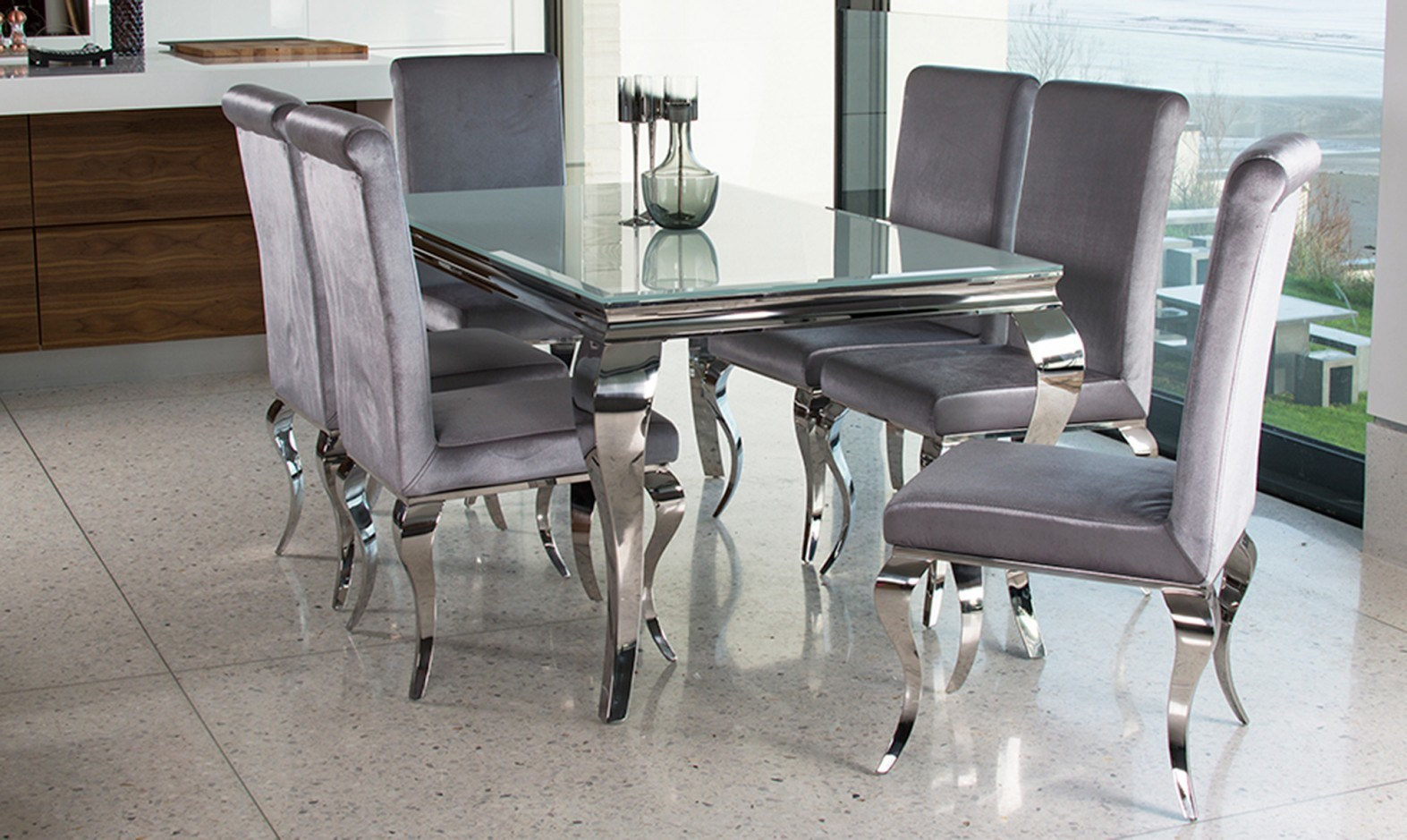Glass Dining Table And Chairs Hot Item Modern Home Dinining Furniture Louis Clear Glass Dining Table Set With Louis Silver Chair
