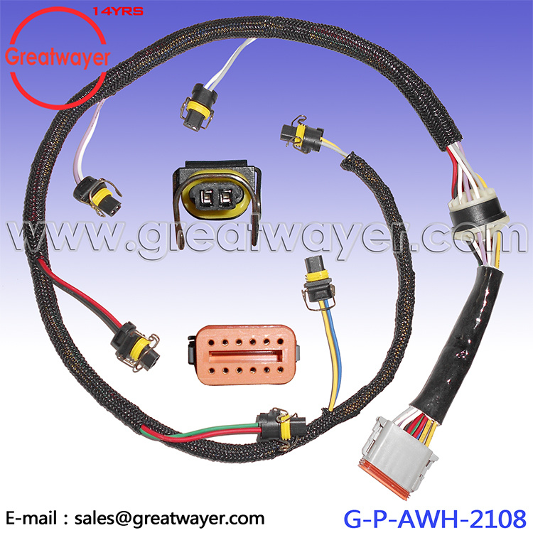 China C7 Fuel Injector Wiring Harness Special Mesh Deutsch 12 Pin
