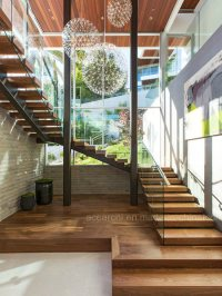 China Modern Design U Shape Glass Stairs with Solid Wood ...