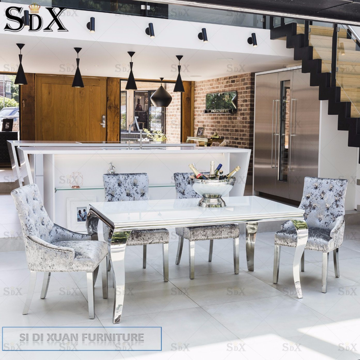 Glass Dining Table And Chairs Hot Item Louis 160cm White Tempered Glass Dining Table For Dining Chair Table Sets