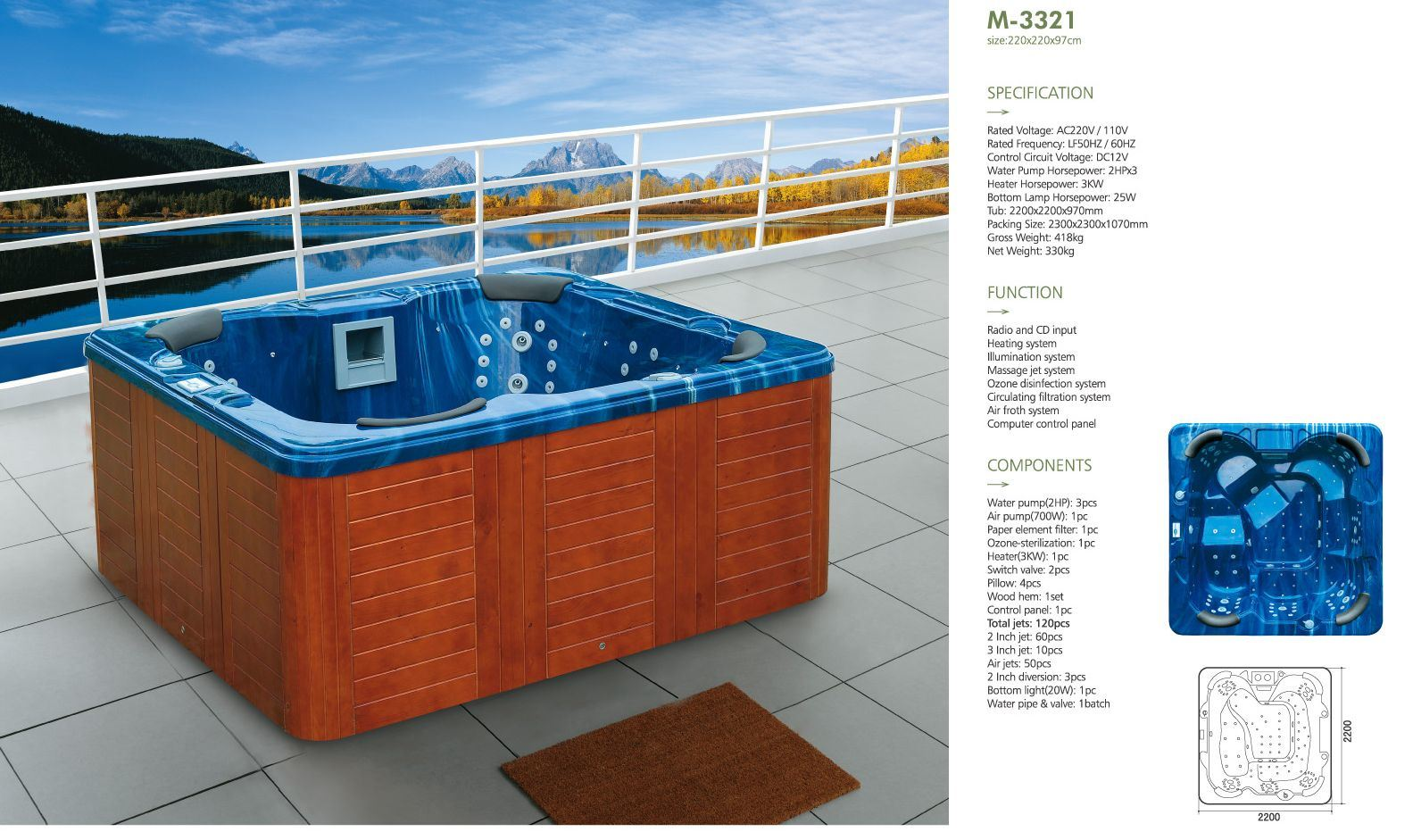 Whirlpool Outdoor Groß Hot Item 2 2 Meters Ocean Blue Square Whirlpool Spa For 6 People