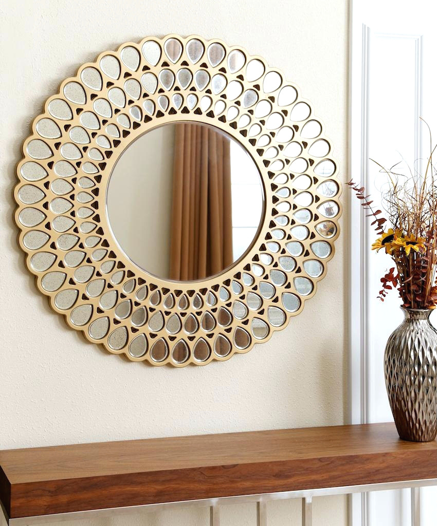 Decorative Mirror Hot Item Round Golden Water Flower Shape Wall Living Room Decorative Mirror