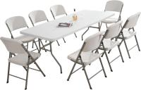NEW GARDEN TRESTLE FOLDING 6FT TABLE & CHAIRS SET BANQUET ...