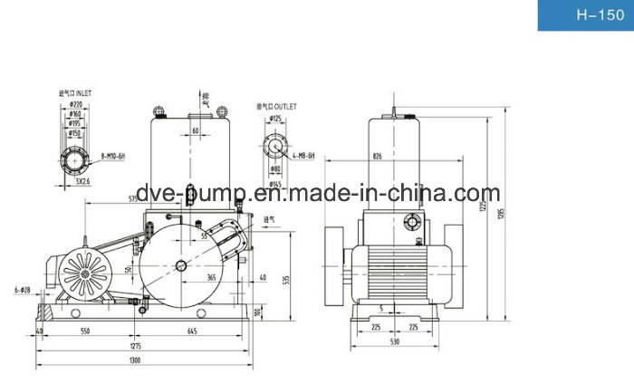 Rotary Piston Pump as Roots Vacuum System Backing Pump H-150 - China