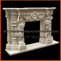 China Natural Marble Fireplace Surround Statues Fireplace