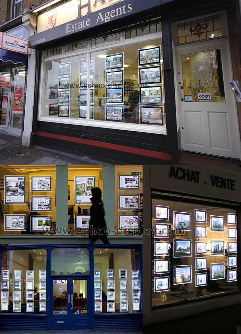 Achat Led Led Light Pockets Advertising Crystal Real Estate Agent Window Led