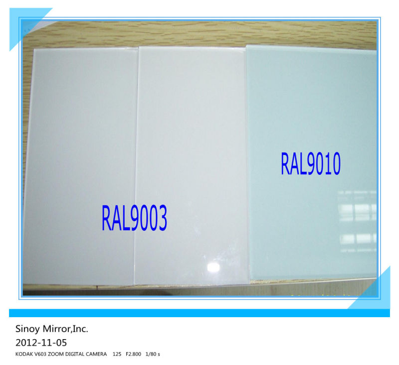 Ral 9003 Vs 9010 China Decorative White Painted Glass Ral9010/ral9003